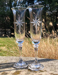 Star of Bethlehem Platinum Champagne Flutes, Set of 2