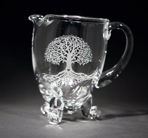 Tree of Life Crystal Footed Pitcher