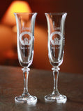 Custom Celtic Claddagh Platinum Champagne Flutes