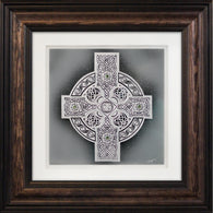 Ornate Celtic Shield — Framed Hand-Carved Fine Art Glass
