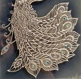 hand carved glass peacock framed