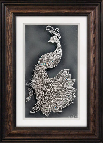 Adorned Peacock — Framed 11 x 17