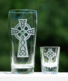 Celtic Cross Pint & Shot Glass Set