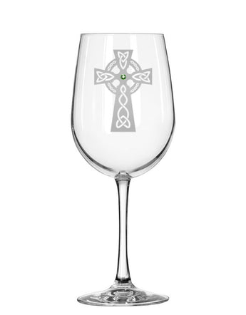 Celtic Cross Red Wine Glass