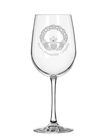 Celtic Claddagh Red Wine Glass