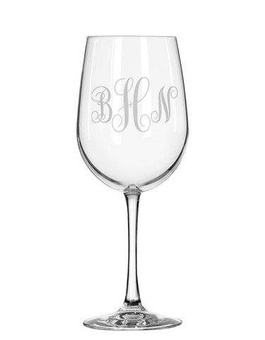 Monogrammed Red Wine Glass