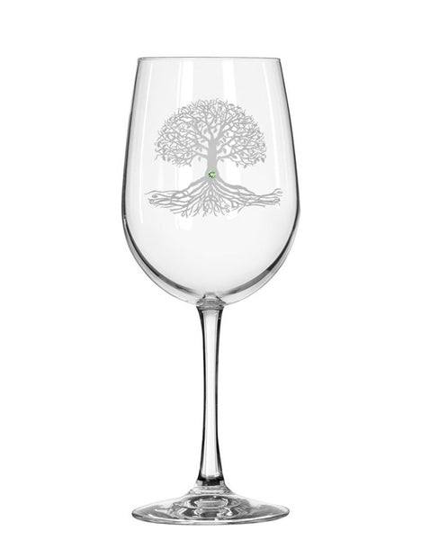 Tree of Life Red Wine Glass