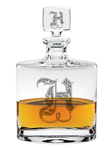 Flask Style Decanter - 32oz - Initials and Monograms