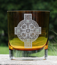 Amber Celtic Shield Vase 8""