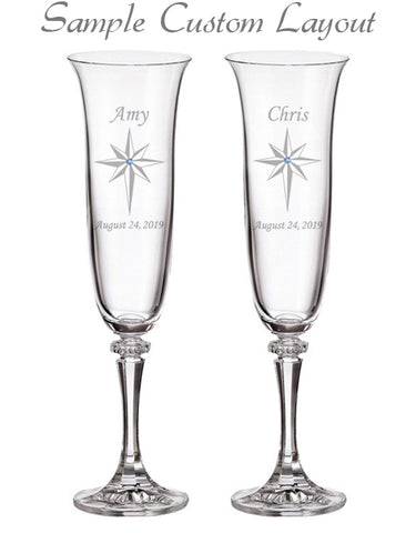 Custom Star of Bethlehem Champagne Flutes (Set of 2)