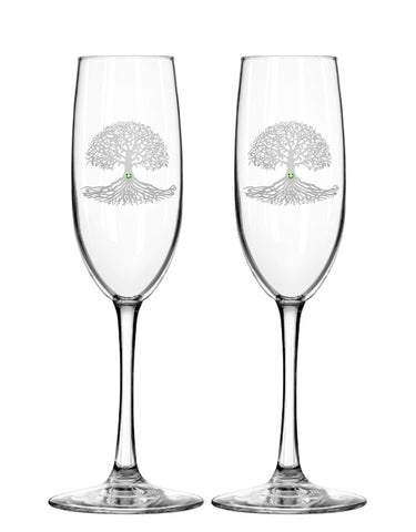Tree of Life Champagne Flutes