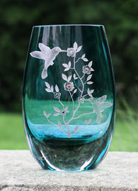 Howling Wolf Vase Table Glass Cut Crystal Vase Wolf Gift
