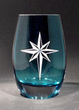 Star of Bethlehem Aqua Teardrop Vase