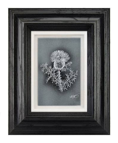 Thistle — Framed Hand-Carved Fine Art Glass