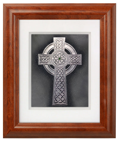 Traditional Irish Cross — Framed Hand-Carved Fine Art Glass