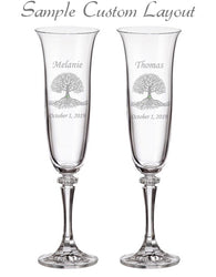 Custom Tree of Life Champagne Flutes (Set of 2)