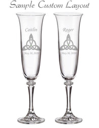 Custom Trinity Knot Champagne Flutes (Set of 2)
