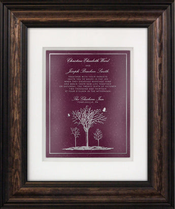 Hand-Carved Wedding Invitation — Framed 11 x 14