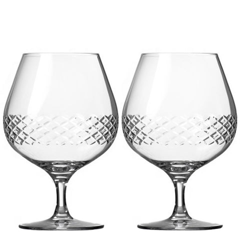 Diamond Pattern Brandy Glasses (Set of 2)