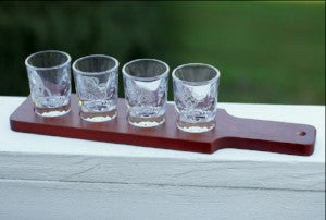 Set of 4 Shot Glasses with Serving Tray