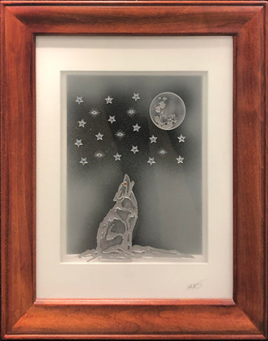 Howling Wolf — Framed 11 x 14 (Honey Brown Frame)