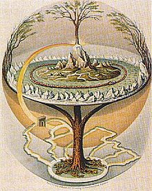 An 1847 depiction of the Norse Yggdrasil as described in the Icelandic Prose Edda by Oluf Oulfsen Bagge