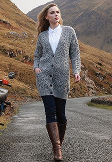 Boyfriend sweater, link and trellis stitch Carraig donn knitwear