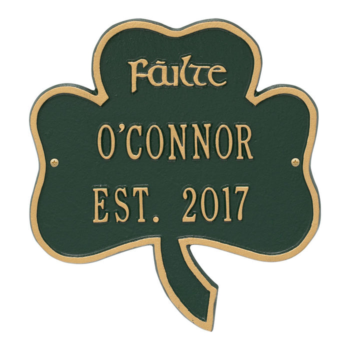 Personalized Shamrock Address Plaque
