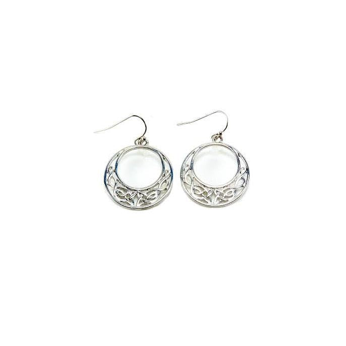 Silver Half Moon Celtic Knot Earrings