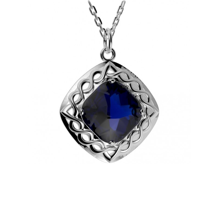 blue celtic weave doublet stone pendant by jmh