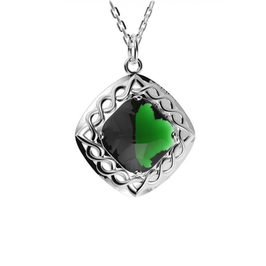 green celtic weave doublet stone pendant by jmh