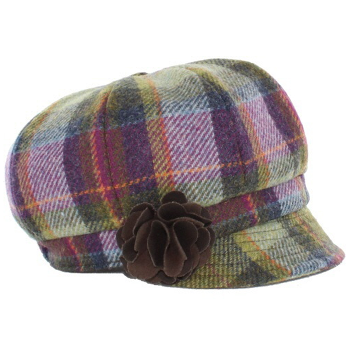 designer flat caps / color 574-1 purple green multi plaid