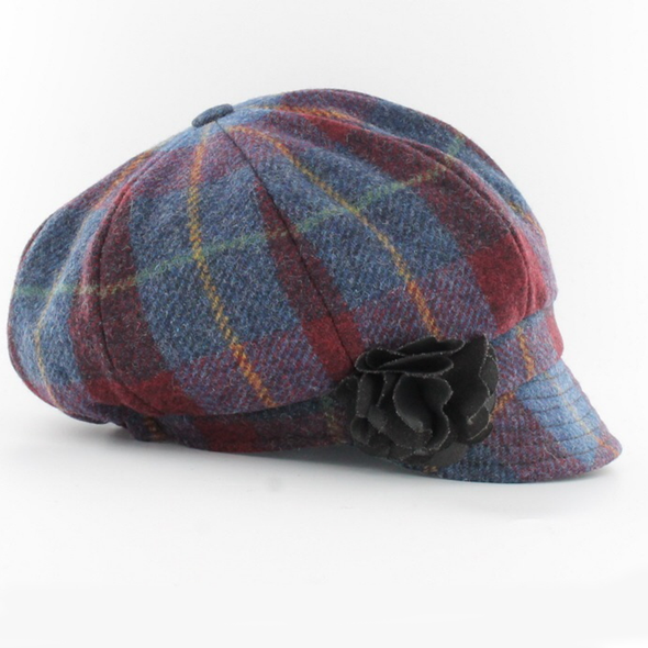 ladies newsboy cap / 773-4 red blue multi plaid