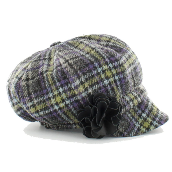 womens newsboy cap / color 801-2 lime green purple plaid