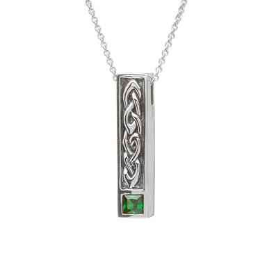 ANU Sterling Silver Green/Cz Celtic Pendant