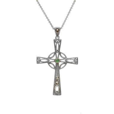 Sterling Silver Celtic Trinity Cross with Marcasite and Emerald Cubic Zirconia