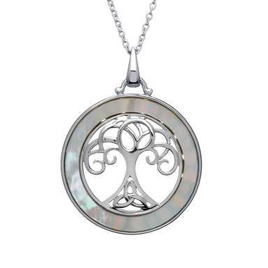 ANU Sterling Silver Mother of Pearl Tree of Life Pendant
