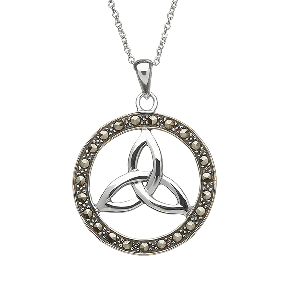 Sterling Silver Round Marcasite Trinity Pendant
