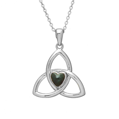 sterling silver trinity and green marble pendant necklace by anu celtic jewellery