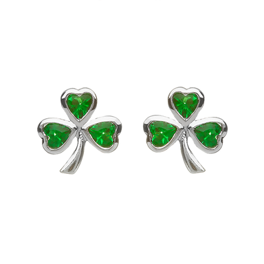 silver green shamrock cubic zirconia earrings