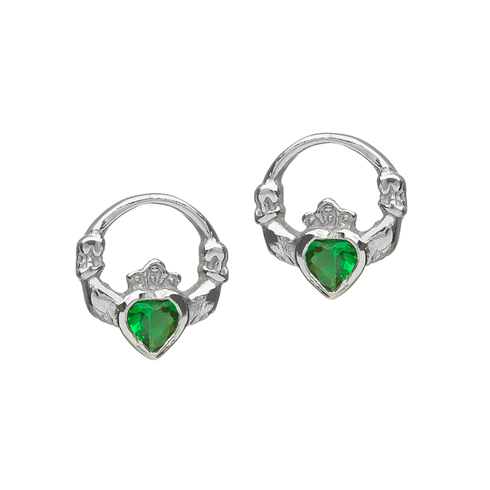 sterling silver small claddagh green cubic zirconiz earrings by anu celtic jewellery