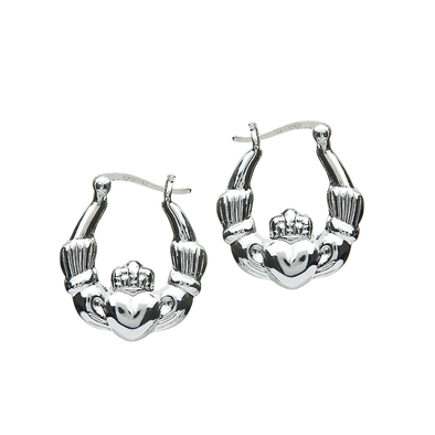 Sterling Silver Hoop Claddagh Earrings