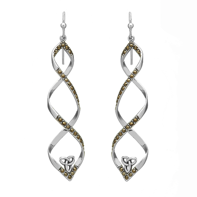 sterling silver marcasite trinity twist earrings by anu celtic jewellery