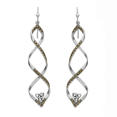 ANU Sterling Silver Macasite Trinity Twist Earrings