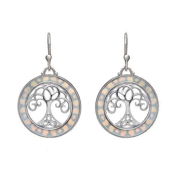 ANU Sterling Silver Mother of Pearl Tree of Life Earrings