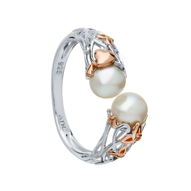 sterling silver pearl crossover ring with rose gold trinity knot by anu celtic jewellery