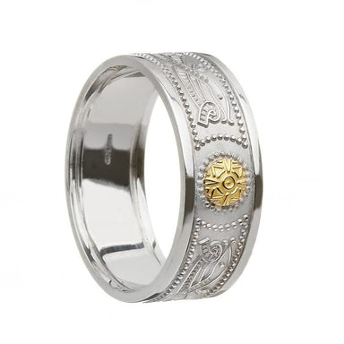 celtic warrior shield wedding read with 18k gold bead oxidized by boru