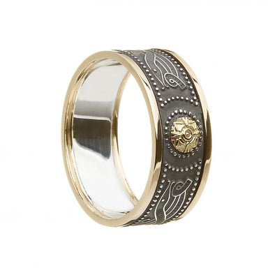men's silver and 10k gold trim celtic warrior wedding ring by boru