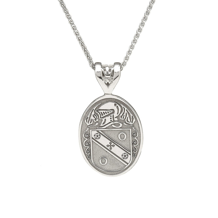 large oval shield pendant with coat of arms