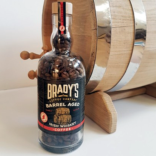 brady's barrel aged whiske coffee bottle